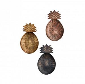 Set 3 tavi ovale din fier 13,5x22,5 cm Vintage Copper Gold Black Madam Stoltz