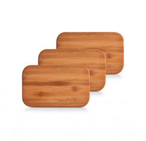 Set 3 tocatoare dreptunghiulare maro din lemn 14x22 cm Cutting Boards Zeller