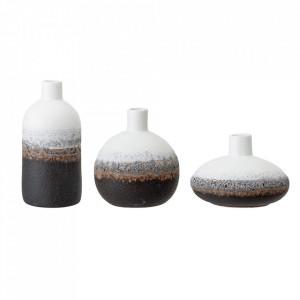 Set 3 vaze albe/negre din ceramica Rhania Bloomingville