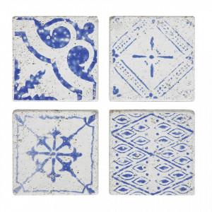 Set 4 coastere alb/albastre din beton Tile Bloomingville
