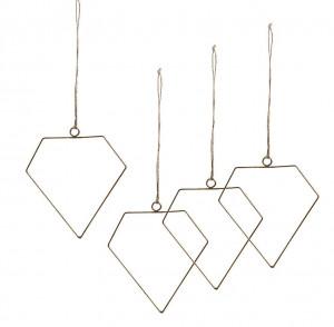 Set 4 decoratiuni suspendabile din metal 14,5 cm Elch La Forma