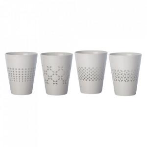 Set 4 pahare albe din portelan Pierced Pols Potten