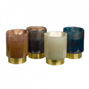 Set 4 suporturi pentru lumanare din sticla si alama Belt Pols Potten