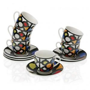 Set 6 cesti cu farfurioare multicolore din portelan 5,5x5,7 cm Urbana Coffee Versa Home