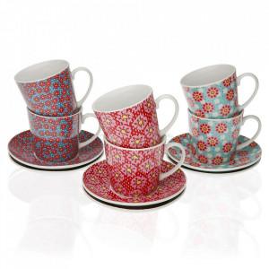 Set 6 cesti cu farfurioare multicolore din portelan 6x10,5 cm Bucie Tea Versa Home