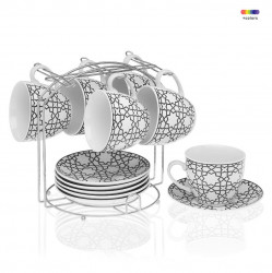 Set 6 cesti cu farfurioare si suport din portelan si metal Tea Black Versa Home