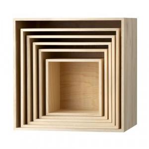 Set 6 cutii patrate pentru perete natur Bloomingville