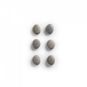 Set 6 magneti gri din polirasina Stone Pieces Zeller