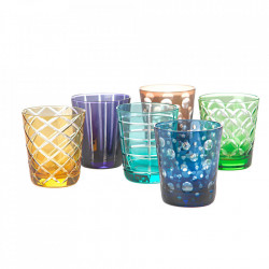 Set 6 pahare multicolore din sticla Cuttings Pols Potten