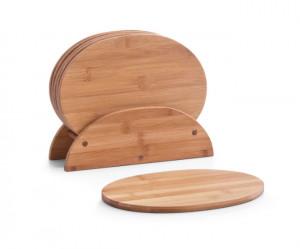 Set 6 tocatoare si suport din lemn Board Stand Seven Oval Zeller