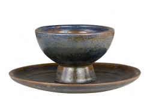 Set bol si platou maro din ceramica Bronze Decorations Versmissen