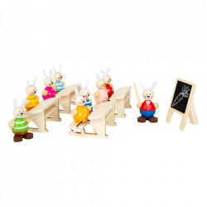 Set de joaca 14 piese din lemn Rabbit School Small Foot