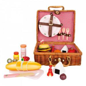 Set de joaca 17 piese din lemn si textil Teatime Picnic Small Foot