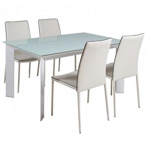 Set masa dining extensibila cu 4 scaune din aluminiu Hor Santiago Pons