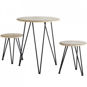 Set masa si 2 taburete din ratan si fier Natural Madam Stoltz