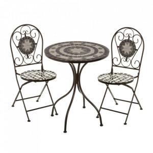 Set masuta si 2 scaune pliabile multicolore din ceramica si metal pentru exterior Garden Poise Unimasa