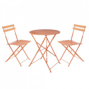 Set masuta si 2 scaune pliabile rosii corai din otel pentru exterior Terrace Sira Coral Unimasa