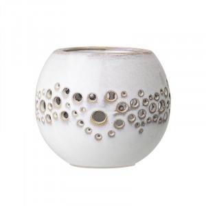 Suport alb din ceramica pentru lumanare 8,5 cm Magnús Bloomingville