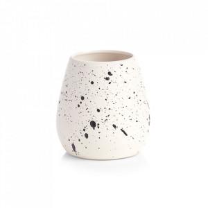 Suport alb din ceramica pentru periuta dinti 9,7x10 cm Spotted Zeller