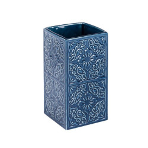 Suport albastru din ceramica pentru periuta dinti 6,5x12 cm Cordoba Wenko