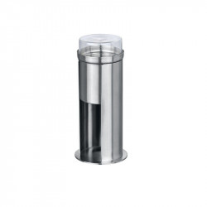 Suport argintiu/transparent din inox pentru betisoare urechi si dischete demachiante 7,5x18 cm Firenze Wenko