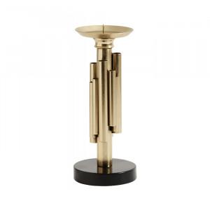 Suport auriu/negru din fier pentru lumanare 25 cm Maxima Nordal