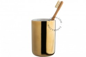 Suport auriu pentru periute dinti din ceramica 11,7 cm Anthony Gold Zangra