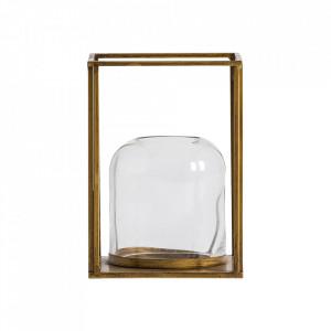 Suport auriu/transparent din fier si sticla pentru lumanare 24 cm Bitt Vical Home