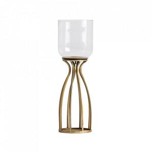 Suport auriu/transparent din otel si sticla pentru lumanare 40 cm Garcia Vical Home