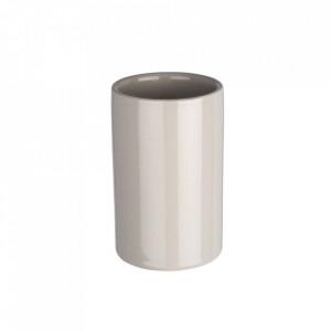 Suport gri din ceramica pentru periuta dinti 7x11 cm Polaris Tumbler Light Wenko