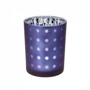 Suport lumanare albastru din sticla 12 cm Domo Edzard