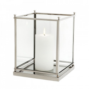 Suport lumanare argintiu din sticla si inox 24 cm Jennifer Eichholtz