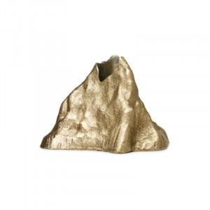 Suport lumanare maro alama din aluminiu 7 cm Stone Ferm Living