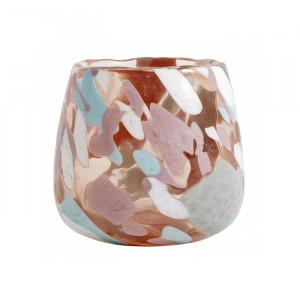 Suport multicolor din sticla pentru lumanare 8,5 cm Ernest Nordal