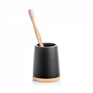 Suport negru/maro din polirasina si lemn pentru periuta dinti 7,5x9,3 cm Naija Zeller