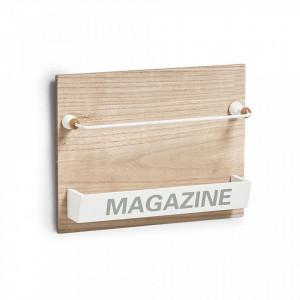 Suport reviste maro/alb din MDF si metal pentru perete Nordic Magazine Zeller