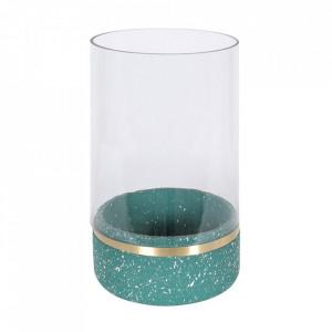 Suport verde din beton si sticla pentru lumanare 22 cm Muzz Large Zago