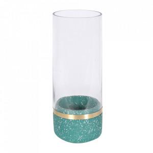 Suport verde din beton si sticla pentru lumanare 22 cm Muzz Zago