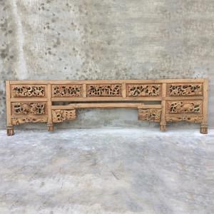Tablie pat maro din lemn de tec 214 cm Riano Denzzo