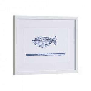 Tablou alb/albastru din canvas si MDF 30x40 cm Kuma Kave Home