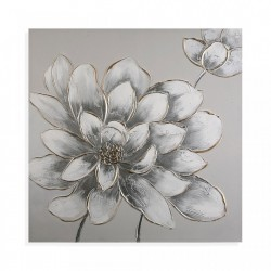 Tablou gri/alb din canvas 80x80 cm Flowers Picture Grey Versa Home