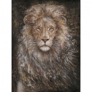 Tablou multicolor din canvas si lemn 90x120 cm Lion Ter Halle