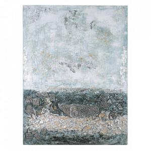 Tablou multicolor din lemn de brad si canvas 150x200 cm Crown Bizzotto