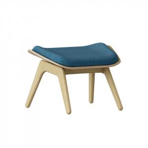 Taburet pentru picioare dreptunghiular albastru petrol/maro stejar din poliester si lemn 46x60 cm The Reader Umage