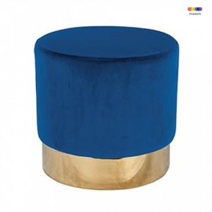 Taburet rotund albastru din catifea si inox 42 cm Lilou Blue Richmond Interiors