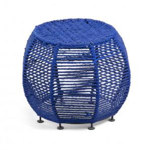 Taburet rotund albastru din metal si bumbac 43 cm Iliam Blue La Forma