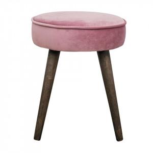 Taburet rotund din catifea roz lila si lemn Popy Zago