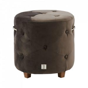 Taburet rotund gri antracit din catifea si lemn 43 cm Bowery Riviera Maison