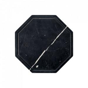Tocator octagonal negru din marmura 25x25 cm Wonder Bolia