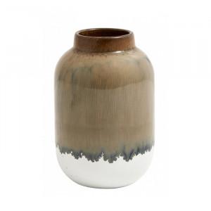 Vaza maro/alba din ceramica 13 cm Lara Nordal